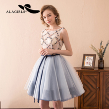 Alagirls 2019 Sexy Mini Homecoming Dress Short A Line Prom Embroidery pearls cocktail dress Lace Up Graduation Party Gown