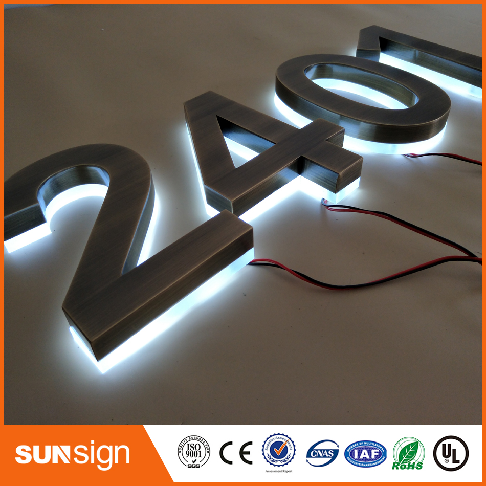 Customized Brushed Stainless Steel Backlit Letters
