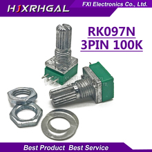 5PCS RK097N 100K single linked potentiometer B100K with a switch audio 3pin shaft 15mm  amplifier sealing potentiometer