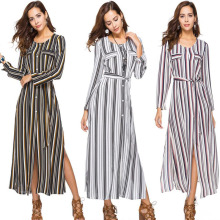 European and American chiffon striped long belt long-sleeved single-row shirt split skirt female dress free shipping цена и фото