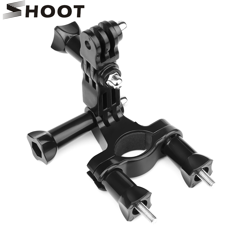 SHOOT Bicycle Handlebar Seatpost Clamp Mount For GoPro Hero 8 7 5 6 Black 4 Yi 4k SJ4000 With Pivot Arm Tripod Cycling Accessory
