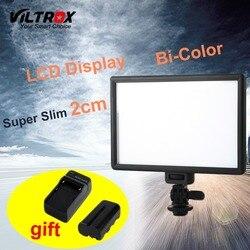 Viltrox l116t display lcd bi-color & dimmable magro dslr vídeo led luz + bateria + carregador para câmera canon nikon dv filmadora