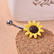 2018 Gofuly NEW Top Brand Sunflower Flower Surgical Steel Belly Button Ring Navel Piercing Body Best Cute Wedding Pretty Jew(China)