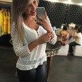 2017 Новая Коллекция Весна Женщины Белый V Шеи Блузка Сетки Белое Кружево Рубашка S, M, L, XL