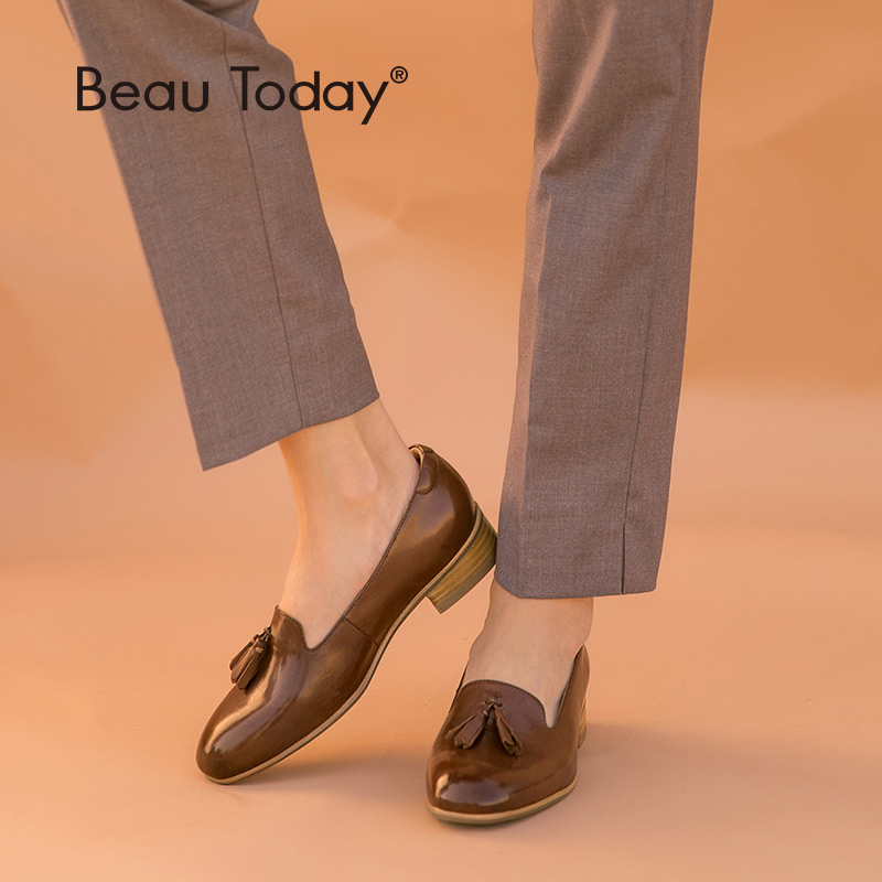 BeauToday Loafers Women Calfskin Genuine Leather Round Toe Fringes Handmade Shoes Top Quality Female Slip On