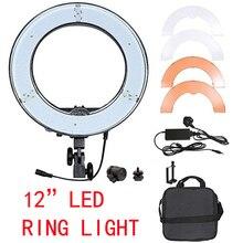 Yuguan RL-12 de Iluminação Fotografia 5500 K 180 LEVOU Anel de Luz Da Câmera de Vídeo Foto Lâmpada CRI 3 + Cor Regulável Estúdio