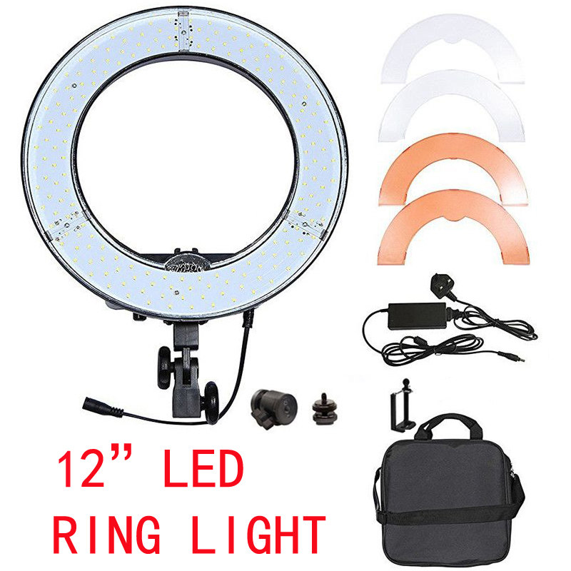 Yuguang RL-12 180LED 5500K Ring Light Lamps Photography/Photo/Studio /Video Lamp for Camera Phone with Carry Bag fosoto rl 18 240led 5500k dimmable photography photo studio phone video ring light lamp