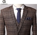 Pre Sale Cajerin 2015 Autumn Men Brown Plaid Slim Full Sleeve Wedding Groom Business Suits Jackets Double Breasted Retro 3XL
