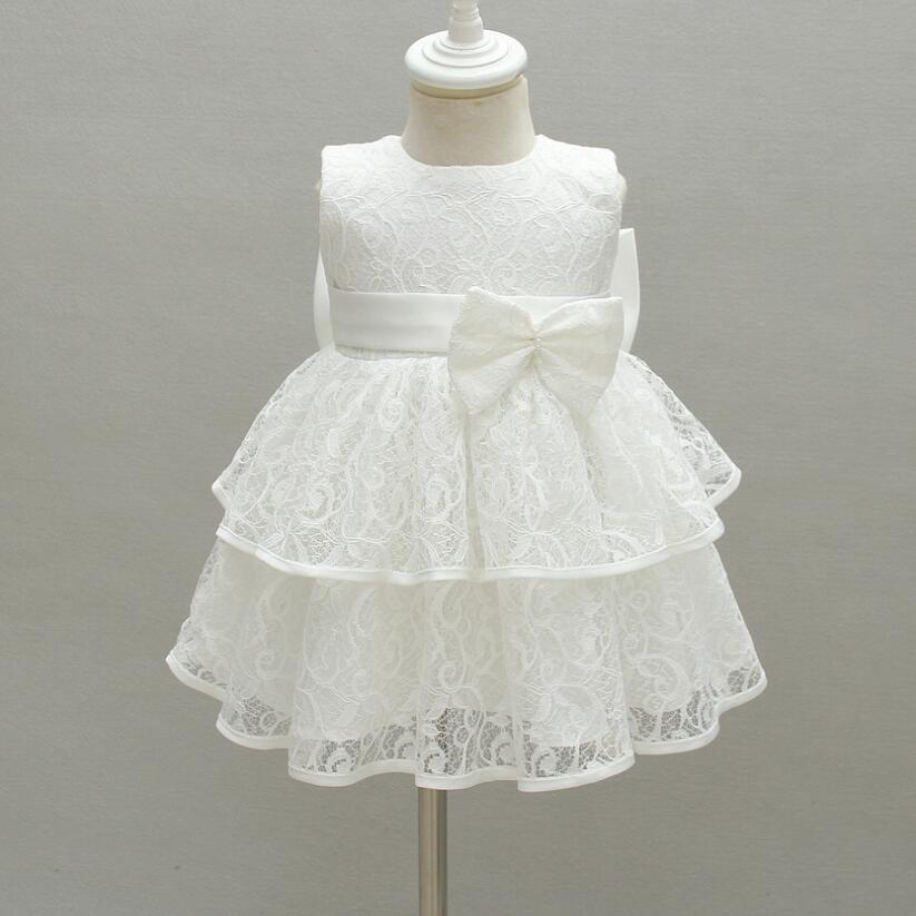 1PC Off White Wine Sleeveless Lace Baby Girl Baptism Christening Gown Dress Removable Bowknot Baby Girls Party Dress 0-24Months hearted shape back summer new princess girl s lace christening white big bowknot mesh sleeveless show performance formal dress