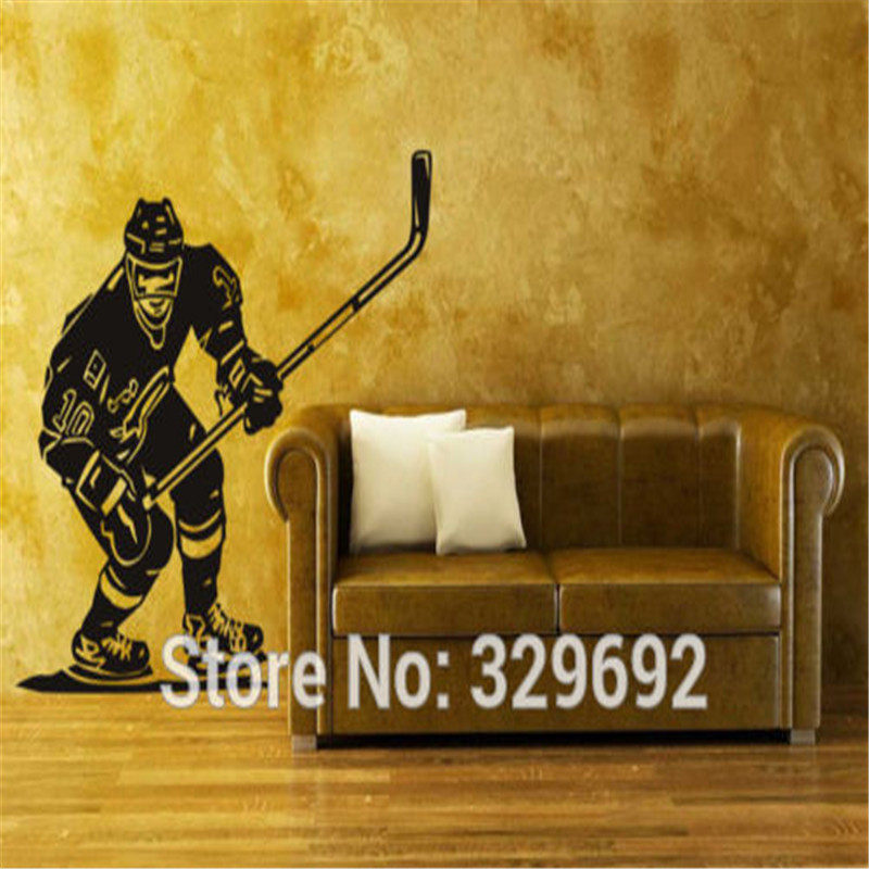 Vinyl Wall Sticker Ice Hockey Sport Player NHL Stick Puck Bedroom Decor Wall Decals tx-162 image