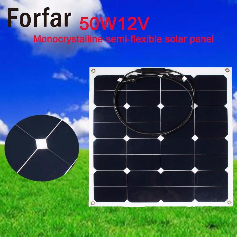 Outdoor 50W 12V Portable Solar Trickle Battery Charger Flexible Panel Car RV  Outdoor Camping Hiking Travel Tool 50w 12v semi flexible monocrystalline silicon solar panel solar battery power generater for battery rv car boat aircraft tourism