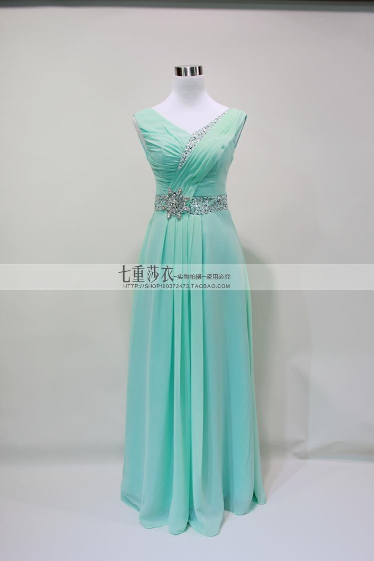 2017 New Cheap Long Sparkly Sequin Mint Green Bridesmaid