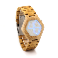 BOBO BIRD Men Watches Top Brand Luxury LED Digital Bamboo Watch Bamboo Band Wristwatches