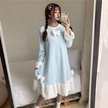 Новинка, осенне-зимняя ночная рубашка для девочек, милая Повседневная Свободная Женская одежда для сна с круглым вырезом, флисовое теплое Ночное платье Kawaii