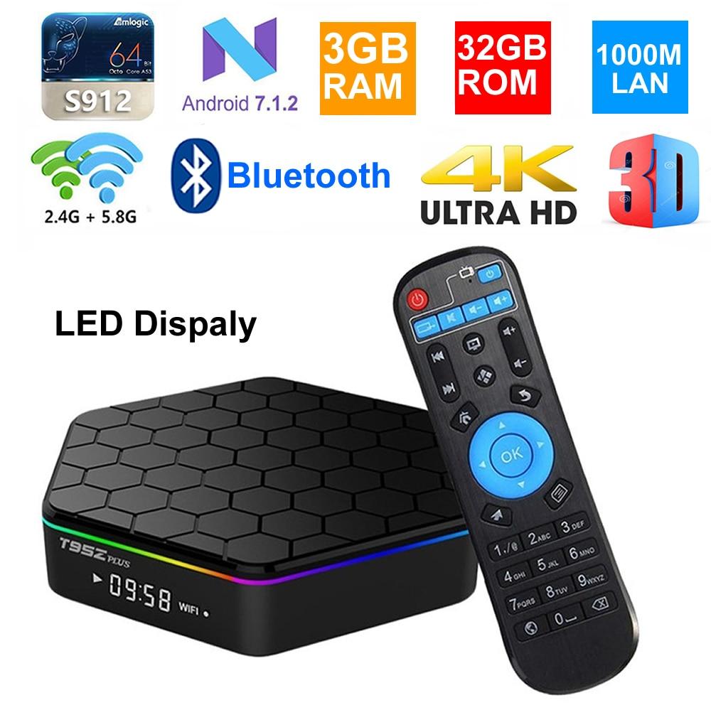 T95Z Plus Smart TV Box Android 7,1 Восьмиядерный процессор Amlogic S912 3 ГБ 32 ГБ светодиодный дисплей BT4.0 1000 м Lan 2,4G/5G двойной WIFI 4K телеприставка ТВ-приставки и медиаплееры      АлиЭкспресс