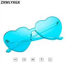 ZXWLYXGX Love Heart Sunglasses Women  Brand Designer New Fashion cute sexy retro Cat Eye Vintage cheap Sun Glasses red female