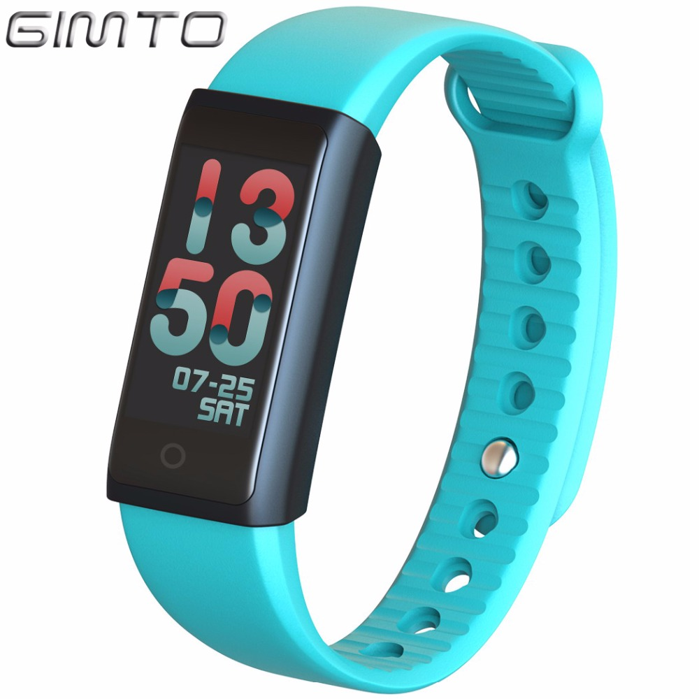 GIMTO Sport Smart Bracelet Watch Outdoor Clock Waterproof Stopwatch heart rate monitor blood pressure Pedometer for IOS Android relojes smart watch outdoor sport watch with heart rate monitor and compass waterproof watches for apple ios android one gift