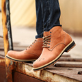 2015Genuine Leather mens boots fashion shoes for men carved men Vantage ankle boots hightops qaulity elevator shoes freeshipping
