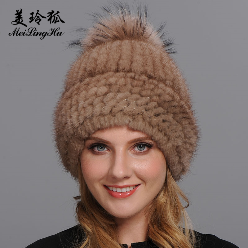 Real Mink and Raccoon Fur Ball Cap pom poms Winter Hat for Women Girl 39 s Hat Knitted Beanies Cap Brand New Thick Female Cap in Women 39 s Skullies amp Beanies from Apparel Accessories