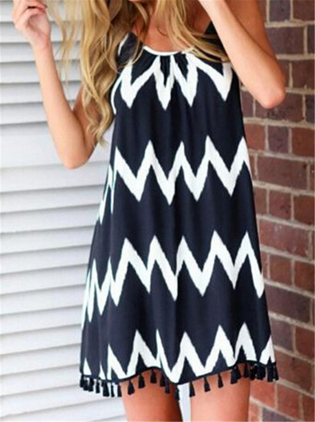 Summer <font><b>Backless</b></font> <font><b>Sexy</b></font> <font><b>Dress</b></font> Women Fashion Waves Stirpe Tassels <font><b>Mini</b></font> Beach <font><b>Dress</b></font> <font><b>Dress</b></font> Slip <font><b>Dress</b></font> image