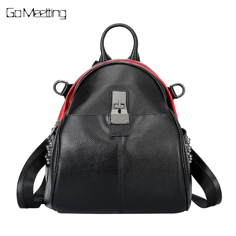 2018 New Genuine leather female hit color fashion travel backpack Youth School shoulder bag female backpacks BackPack mochila