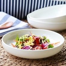 Domestic circular dish dishes pure white ceramic tableware soup dish plate Hotel creative bone deep dish
