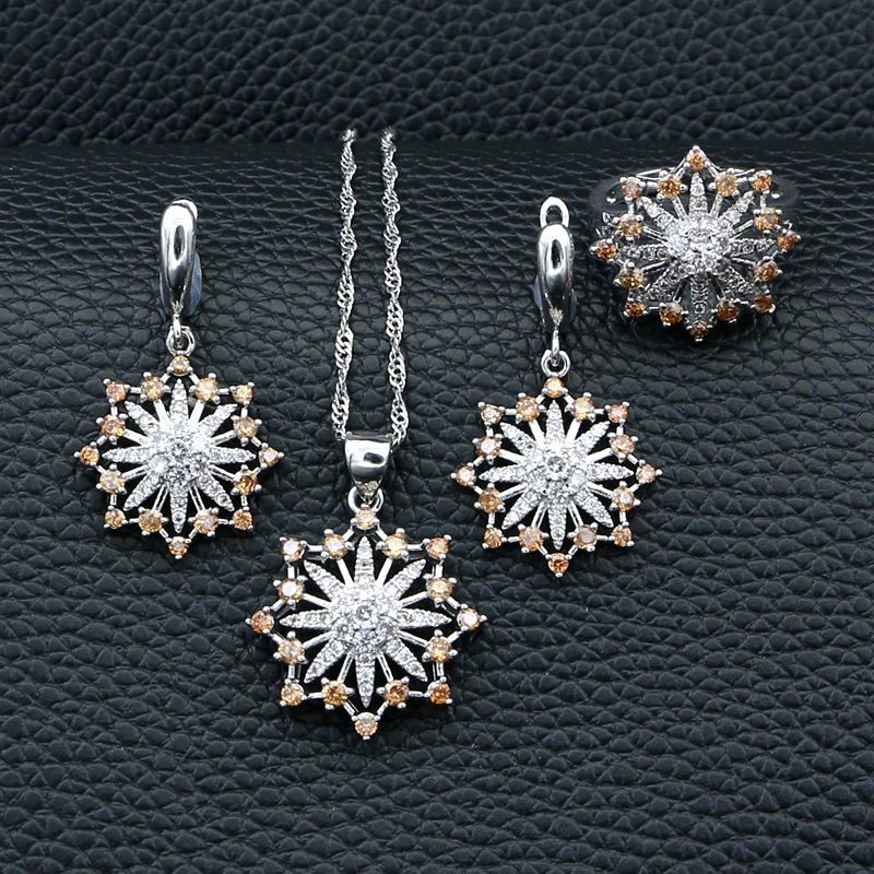 925-Jewelry-Sets Silver Wedding-Accessories Necklace/ring-Set Bride for Champagne White