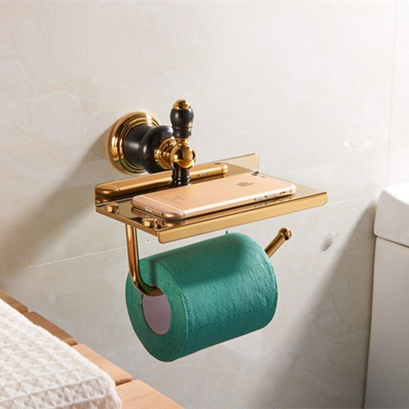 US $50.77 10% OFF Vintage Gold Und Schwarz Toilettenpapierhalter Mit Platte  Für Telefon Solide Brass Papierrollenhalter Bad accessoires-in Badezimmer  ...