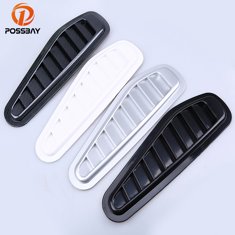 POSSBAY Universal Car Air Flow Hood Vent Side Fender Grille Decoration Silver/Black/White/Imitation Carbon Fiber Stickers ob 515 universal air flow vent hood covers for car silver pair