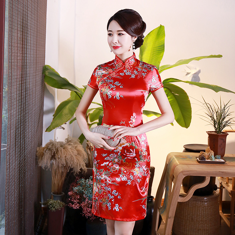 2019 Womens Short Cheongsam Fashion Chinese style Lady Mandarin Collar Rayon Mini Qipao <font><b>Sexy</b></font> Slim Party <font><b>Dress</b></font> Vestido S-<font><b>6XL</b></font> image