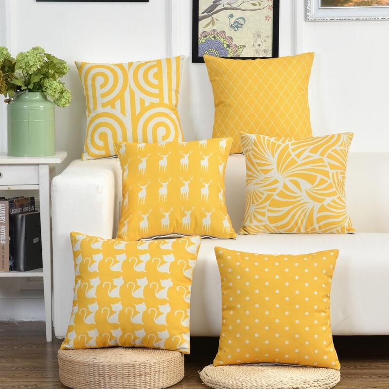 Yellow Pillow Covers Cushion Case Deer Striped Home Decor Linen Cotton Decorative Throw Pillows Sofa Chair Seat Cover Pillowcase