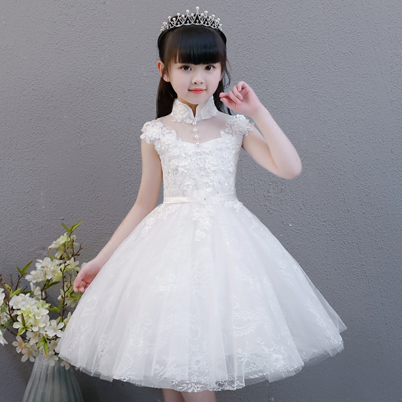 2018 New Children Girls Elegant Pure White Color Birthday Wedding Party Princess Lace Flowers Dress Baby Kids Model Show Dress half sleeve toddler girls show performance lace flowers white christening noble wedding princess bowknot party formal dress