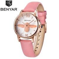 BENYAR Fashion Casual Leather Quartz Watch Women Watches Simple Luxury Auto Date Lady Girls Wristwatches BY