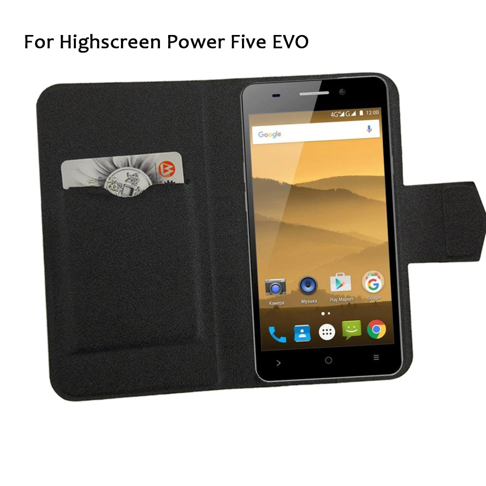 5 färger heta! Highscreen Power Five EVO Phone Case Leather Cover, 2017 Luxury Luxury Full Flip Leather Stand Cases Cover