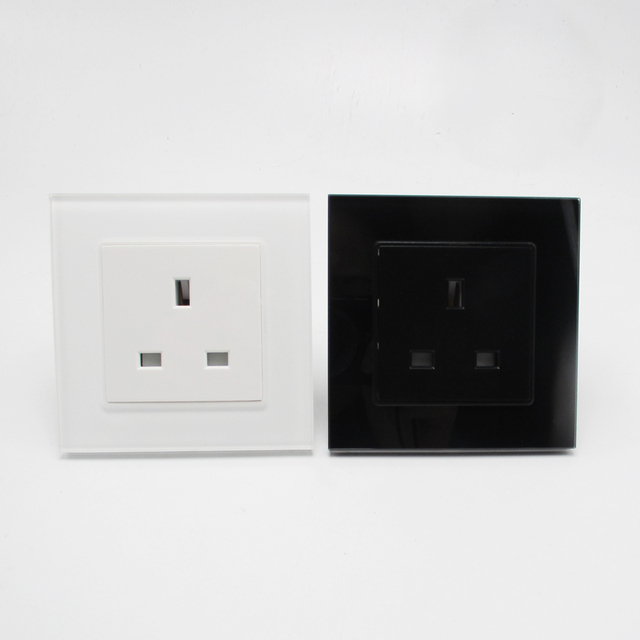 13A 3 Pin UK Standard Wall Outlet Plug Socket Black White-in ...