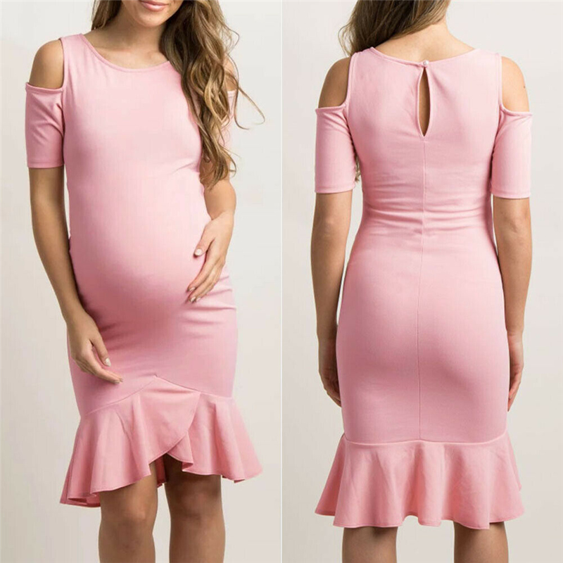Women Maternity Dresses Clothes For Pregnant Women Maternity Comfortable Nursing Solid Breastfeeding Skirt Off Shoulder Dress