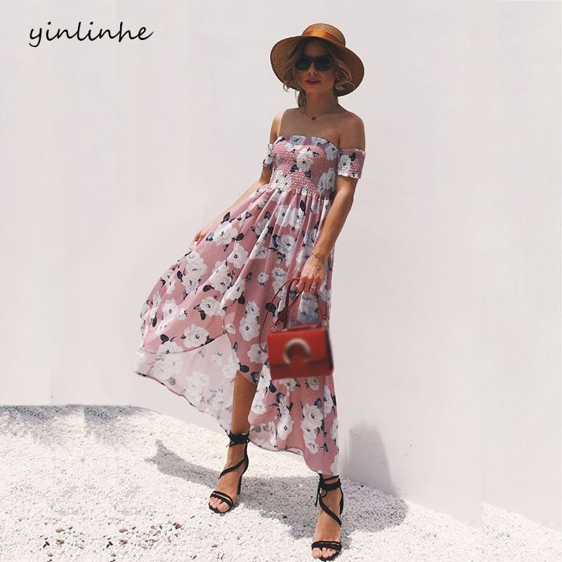 Yinlinhe Off Shoulder Summer Dress Women Short Sleeve 2018
