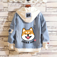 New Doge hoodie Anime Jeans Coat Men Women Fashion Jacket