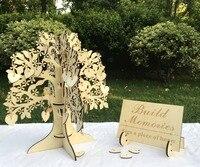 結婚式のゲストブック3dウッドツリーゲストブックウィッシングツリー木製ハーツペン