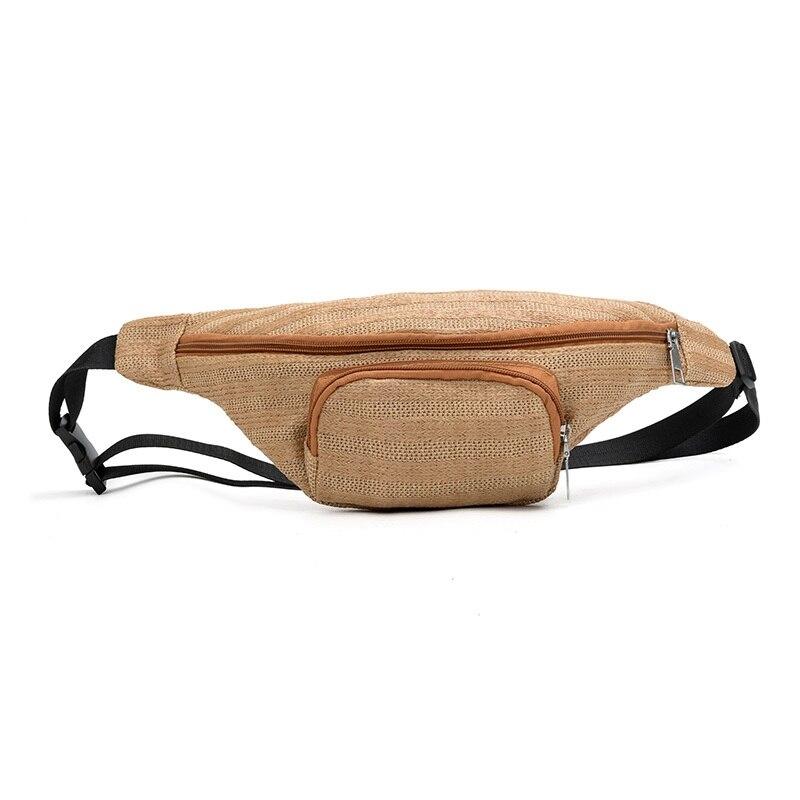 Fashion Casual Sport Neutral Outdoor Weaving Zipper Stripe Messenger Chest Waist Bag Straw Phone Women Fanny Pack Belt Pack