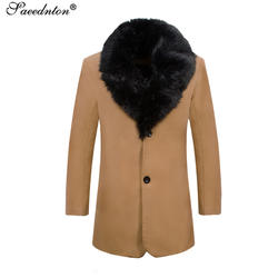 2018 Новое поступление зимние Для мужчин длинные шерстяные пальто большой меховой воротник теплый Шерстяные пиджаки Мужской сплошной Цвет