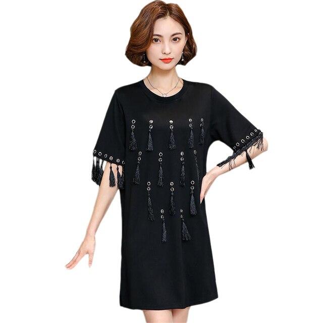 Más tamaño primavera 2018 mujeres vestido de verano borla mujeres elegantes  deress manga corta Vestidos vestido suelto 33c2f37ec83f