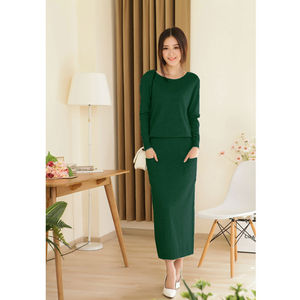 Image 1 - 2018 new spring and autumn female round neck floor length cashmere sweater  one piece dress casual solid sheath cute women dress