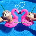 5 Pieces/Set Mini Cute Pink Flamingo Drink Holder Inflatable Floats Swim Pool Beach Party Kids Adult Swimming Beverage Holders