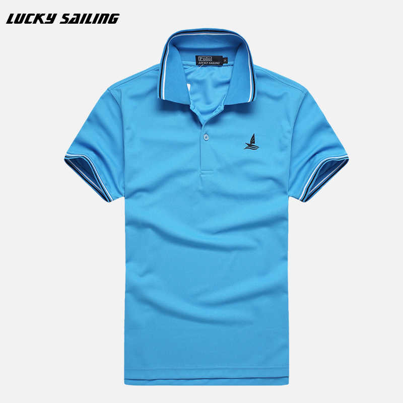 41c91a66 ... LUCKY SAILING Brand Men's Polo Golf Shirts Cotton T-Shirts Quick Dry  Slim Men Tops ...