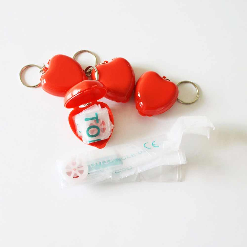 Whole 100 CPR Face Sheild CPR Masks KeyChian Mouth To Mouth Rescue Red