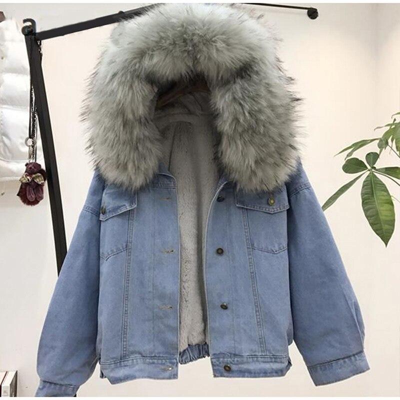 Las mujeres de la chaqueta de jean de invierno gruesa chaqueta de Jean de Cuello de piel con capucha de lana con capucha abrigo Denim de mujer cálido Denim Outwea