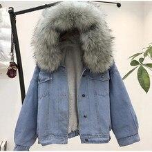 Donne giacca di jeans di Spessore Inverno Giacca di Jeans Faux Pelliccia  Collare In Pile Con fea6fc63365