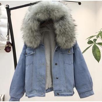 women jean jacket Winter Thick Jean Jacket Faux Fur Collar Fleece Hooded Denim Coat Female Warm Denim Outwea цена 2017
