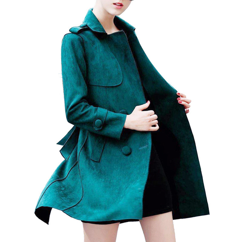 New Elegant Single-Breasted Suede   Trench   Coat For Women Lapel Long   Trench   Coat Abrigos Mujer Ladies Windbreaker With Belt C4751